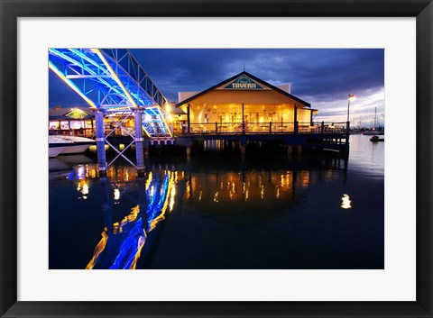 Framed Fisherman's Wharf Tavern, Mariners Cove, Gold Coast, Queensland, Australia Print