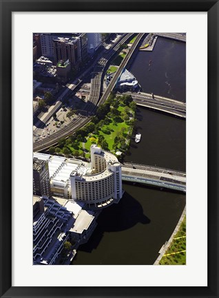 Framed Holiday Inn and Yarra River, Melbourne, Victoria, Australia Print