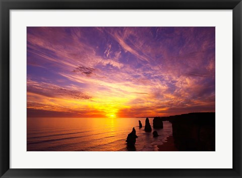 Framed Sunset, Twelve Apostles, Port Campbell National Park, Great Ocean Road, Victoria, Australia Print