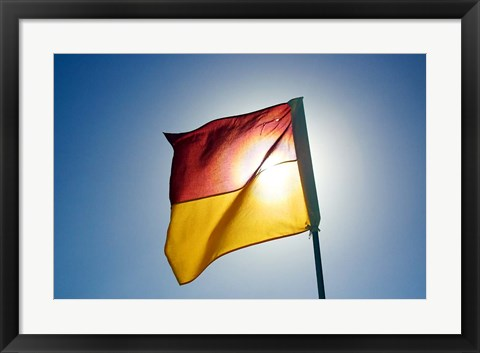 Framed Surf Lifesaving Flag, Queensland, Australia Print