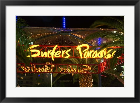 Framed Surfers Paradise Sign, Gold Coast, Queensland, Australia Print