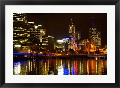 Framed Yarra River, Queens Bridge and CBD, Melbourne, Victoria, Australia Print