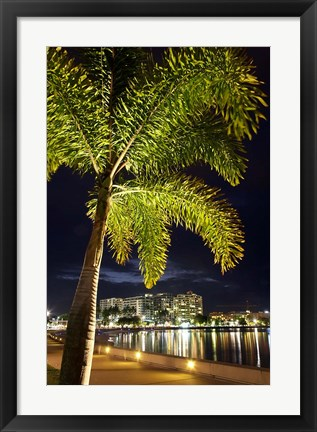 Framed Cairns, waterfront at night, North Queensland, Australia Print