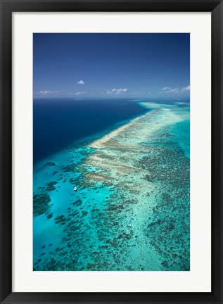 Framed Yacht, Great Barrier Reef, North Queensland, Australia Print