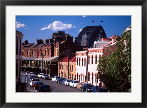 Framed Historic Buildings and Sydney Harbor Bridge, The Rocks, Sydney, Australia Print