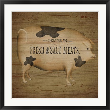Framed Pig Sign Print