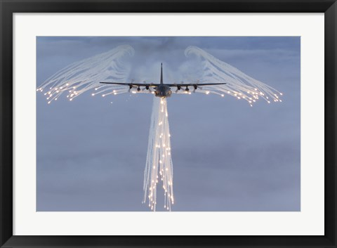 Framed MC-130H Combat Talon Dropping Flares Print