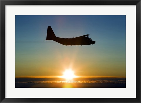 Framed Silhouette of a MC-130H Combat Talon at Sunset, East Anglia, UK Print