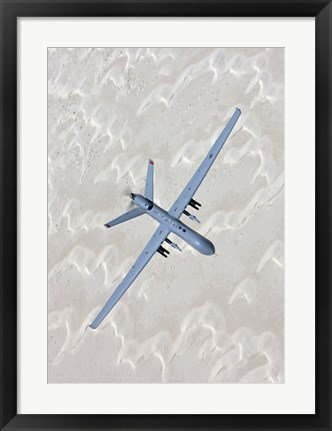 Framed MQ-9 Reaper Training in the White Sands Desert, New Mexico Print