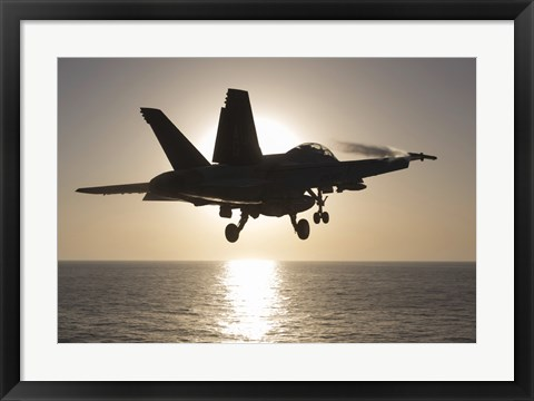 Framed F/A-18F Super Hornet in the Morning Sun over the Arabian Sea Print