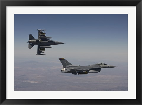 Framed Pair of F-16's fly in Formation over Arizona Print