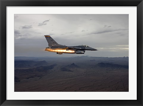 Framed F-16 Fighting Falcon Fires an AGM-65 Maverick Missile Print
