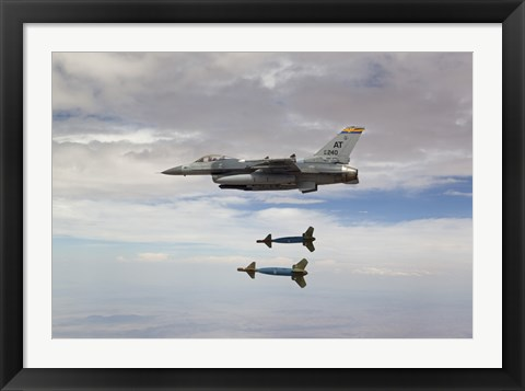 Framed F-16 Fighting Falcon Releases GBU-24 Laser Guided Bombs Print