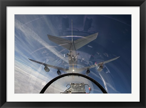 Framed F-16 Flies in the Pre-contact Position Behind a KC-135R Stratotanker Print