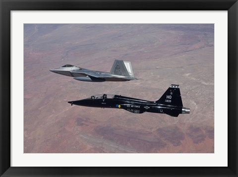 Framed F-22 Raptor and T-38 Talon Fly in Formation over New Mexico Print