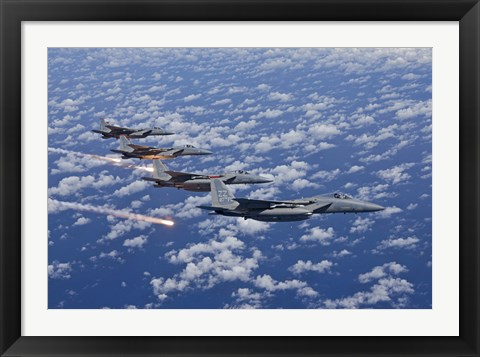 Framed Four F-15 Eagles fly in Formation Over the Pacific Ocean Print