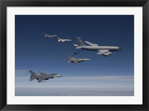 Framed Four F-16's and a KC-135 Fly in Formation over Arizona Print