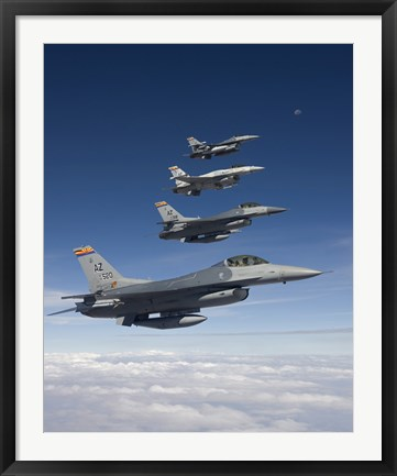 Framed Four F-16's Fly in Formation During a Training Mission Print