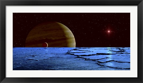 Framed Jupiter and its Moon Lo as Seen from the Surface of Jupiter's Moon Europa Print