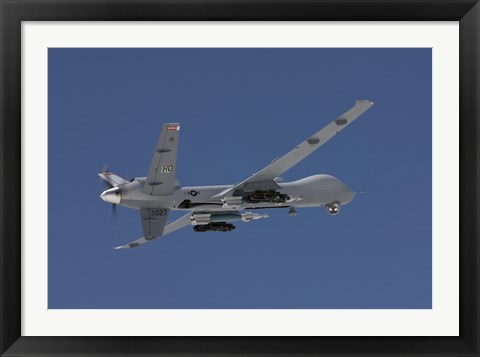 Framed MQ-9 Reaper in the Blue Skies of New Mexico Print