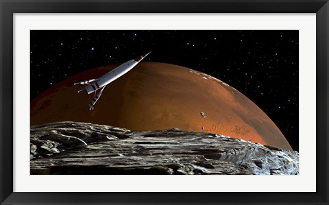 Framed Spaceship in Orbit over Mars Moon, Phobos Print