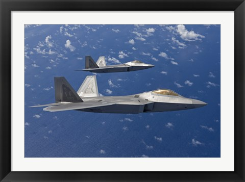 Framed Two F-22 Raptors During a Training Mission Print
