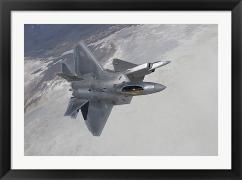 Framed Two F-22 Raptors Maneuver over New Mexico Print