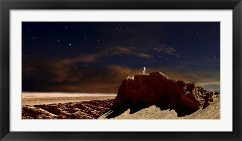 Framed Artist's Depiction of a Lone Astronaut on Another Planet Print