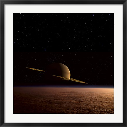 Framed Saturn Floats in the Background Above Titan Print