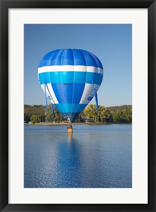 Framed Australia, Canberra, Hot Air Balloon, Lake Burley Griffin Print