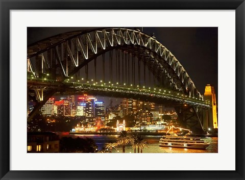 Framed Australia, NSW, Sydney Harbour Bridge, Tour Boat at Night Print