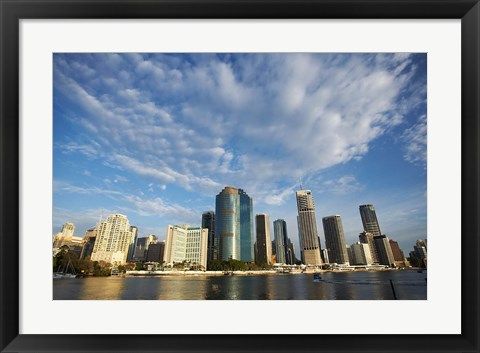 Framed Australia, Queensland, Brisbane River, City Skyline Print