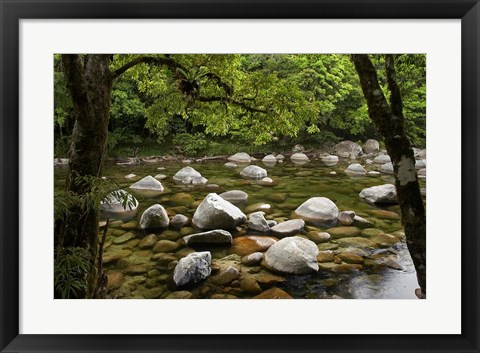 Framed Boulders and Mossman River, North Queensland, Australia Print
