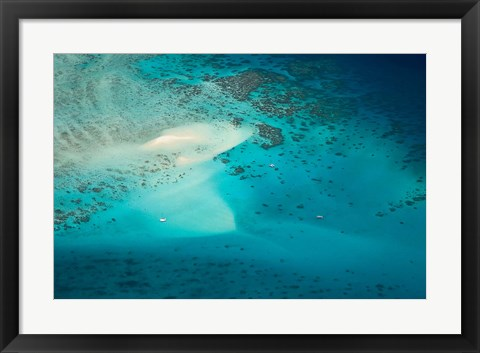 Framed Upolu Cay and Dive Boats, Great Barrier Reef Marine Park, Australia Print