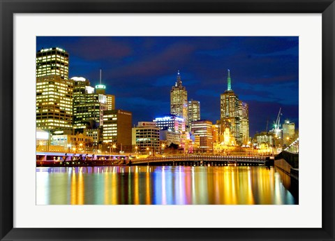 Framed Nighttime View, Melbourne, Australia Print