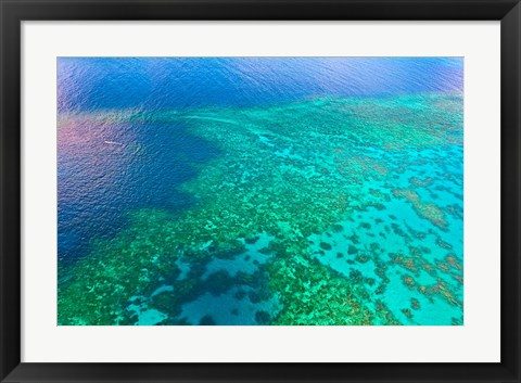 Framed Aerial view of the Great Barrier Reef, Queensland, Australia Print