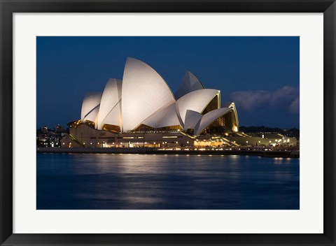 Framed Australia, Sydney Opera House at night on waterfront Print