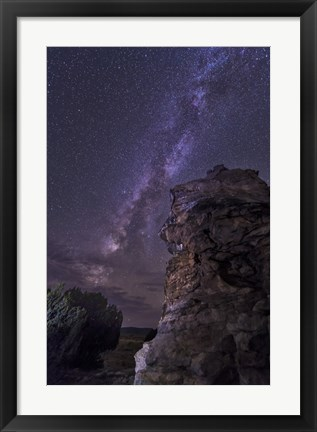 Framed Rocky Hoodoo Against the Milky Way, Oklahoma Print