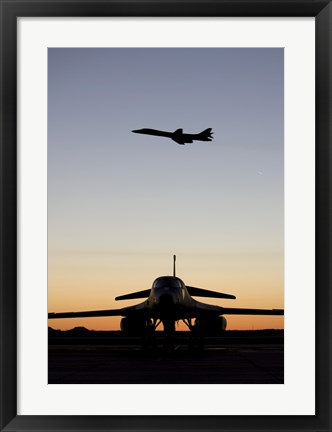 Framed B-1B Lancer Takes Off at Sunset from Dyess Air Force Base, Texas Print
