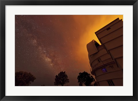 Framed Milky Way Appears through Smoke over the McDonald Observatory Print
