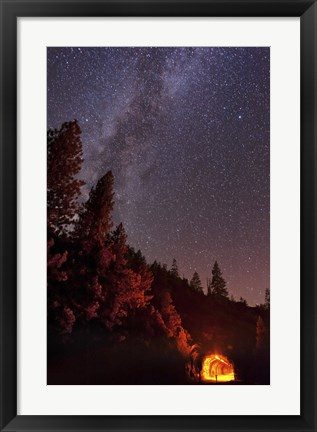 Framed Milky Way over Mountain Tunnel in Yosemite National Park Print