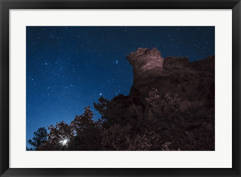Framed Moon Rises through Trees in Oklahoma Print