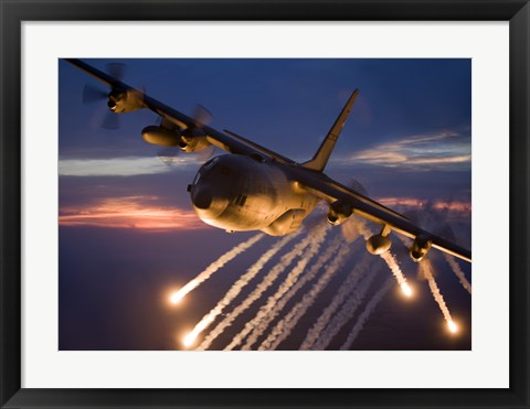 Framed C-130 Hercules Releases Flares Print