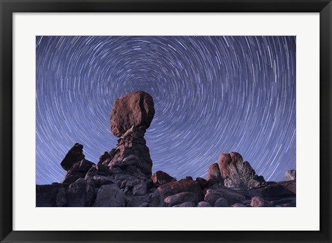 Framed Star trails around the Northern Pole Star, Arches National Park, Utah Print