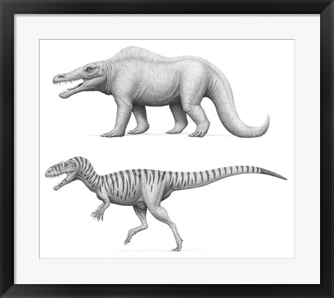 Framed Megalosaurus Bucklandii, Past and Present Print