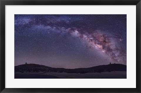 Framed Milky Way Rises the McDonald Observatory near Fort Davis, Texas Print