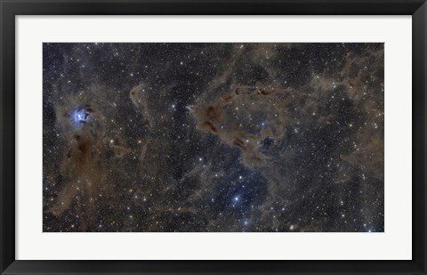 Framed Iris Nebula and Dusty Region in Cepheus constellation Print