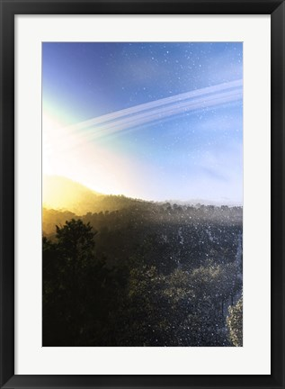 Framed Summer Turns to Winter on a Ringed Alien Planet Print