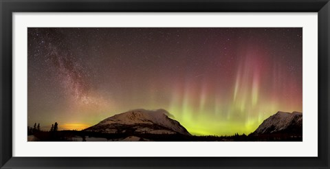 Framed Red Aurora Borealis and Milky Way over Carcross Desert, Canada Print