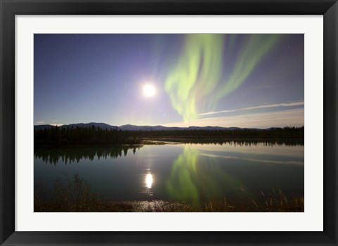 Framed Aurora Borealis with Full Moon over the Yukon River in Canada Print
